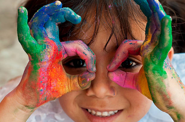 Children's art therapy using paint